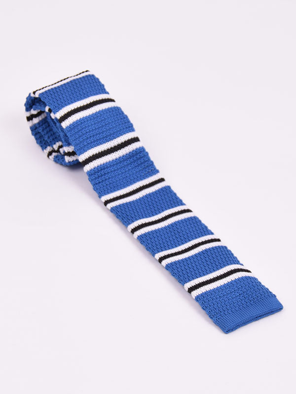 Supernova Blue Black & White Striped Silk Tie