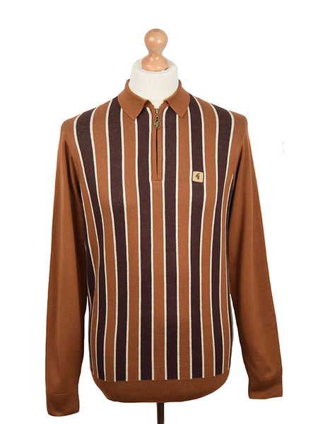 Gabicci Vintage Honeycomb Stripe Half Zip Polo Shirt