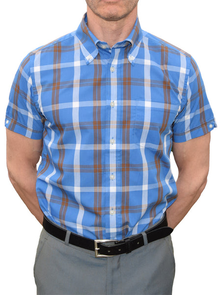 Brutus Trimfit Blue & Brown Windowpane Shirt