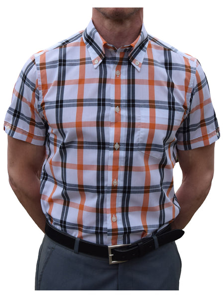 Brutus Trimfit White Orange & Black Windowpane Shirt