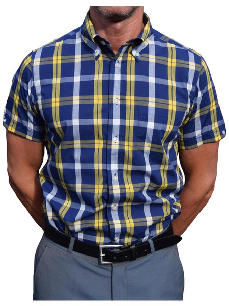 Brutus Trimfit Blue & Yellow Windowpane Shirt