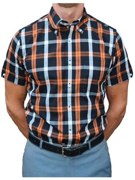 Brutus Trimfit Black & Orange Windowpane Shirt