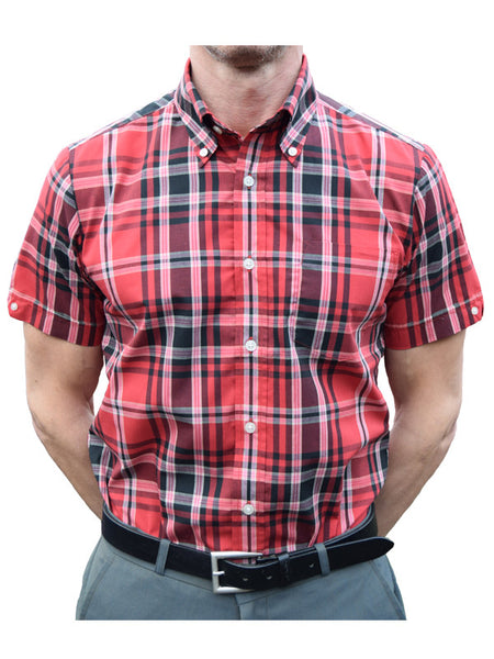 Brutus Trimfit Red & Black Tartan Shirt