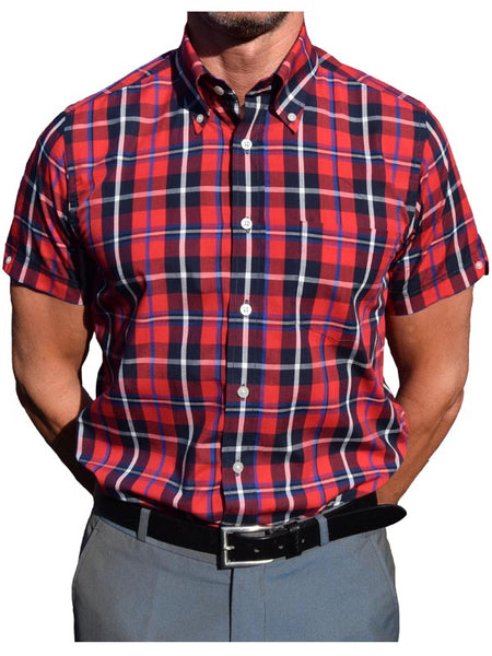 Brutus Trimfit Red & Navy Windowpane Shirt