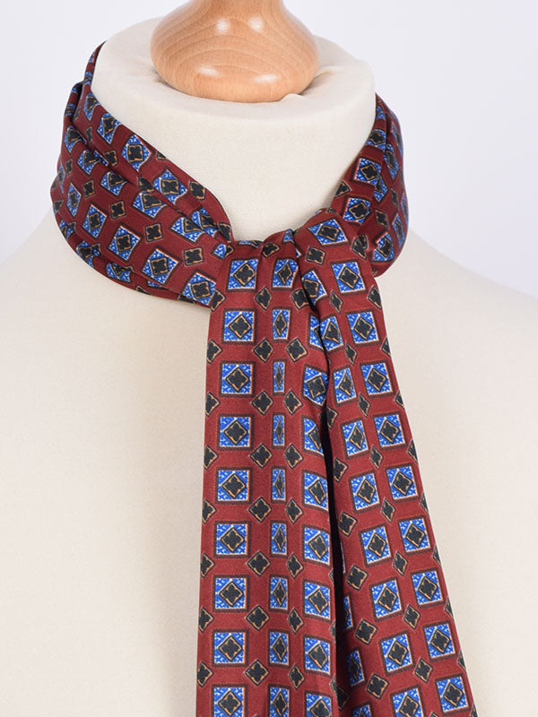 Soho Scarves Burgundy & Blue Geometric Silk Contrast Scarf