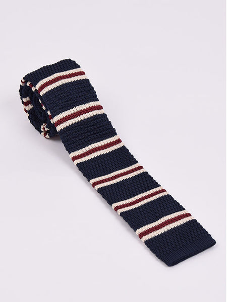 Supernova Navy Burgundy & Cream Striped Silk Tie