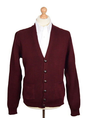 Relco Burgundy Waffle Knit Cardigan