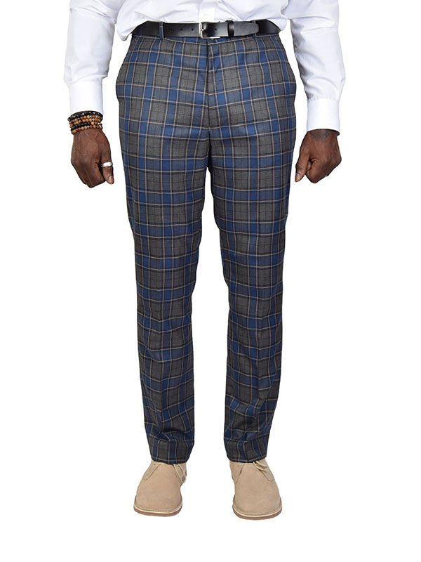 Relco Grey & Blue Tartan Sta Press Trousers