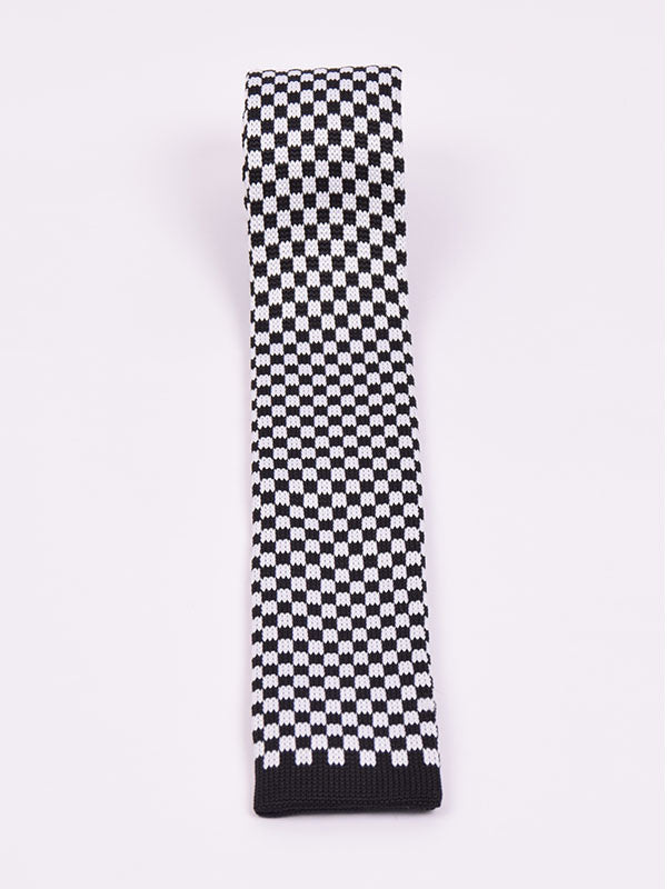 Supernova Black & White Chequerboard Silk Tie