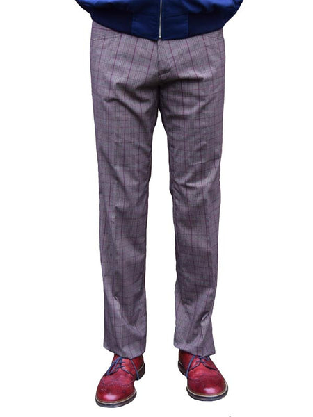 Chenaski Brown & Bordeaux Check Trousers