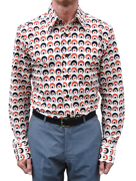 Chenaski Creme Red & Black Eyeball Shirt