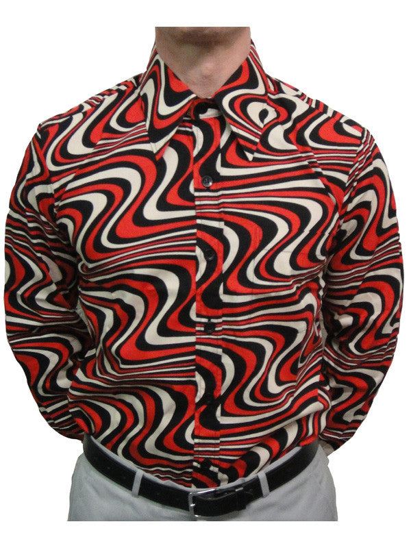 Chenaski Black Red & Creme Wavyline Shirt