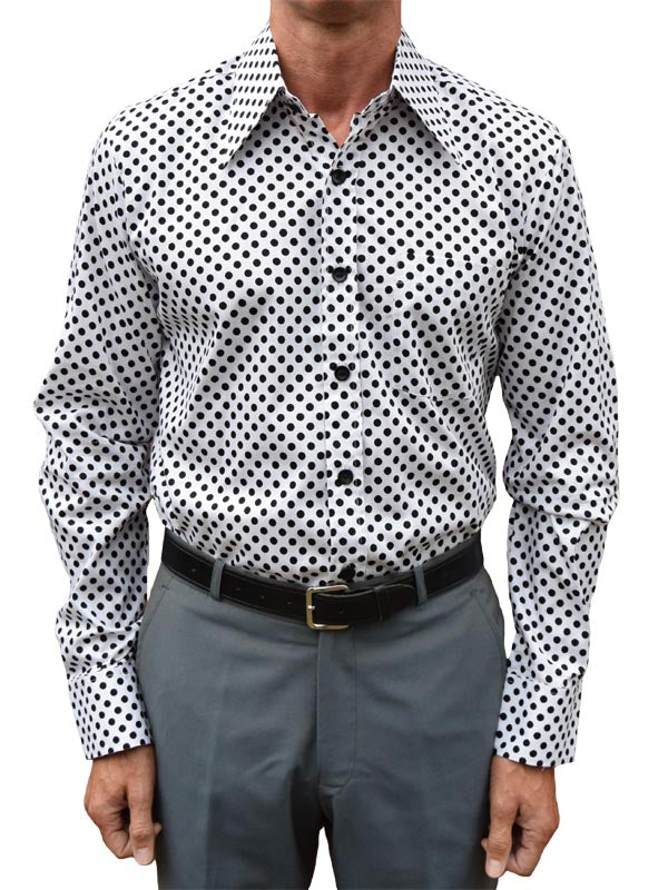Chenaski White & Black Polka Dot Shirt
