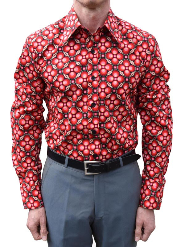 Chenaski Black & Red Dotsgrid Shirt