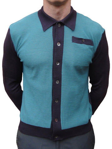 Connection Knitwear Petrol Blue & Aubergine Polo Shirt