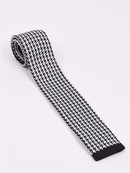 Supernova Black & White Dogtooth Silk Tie