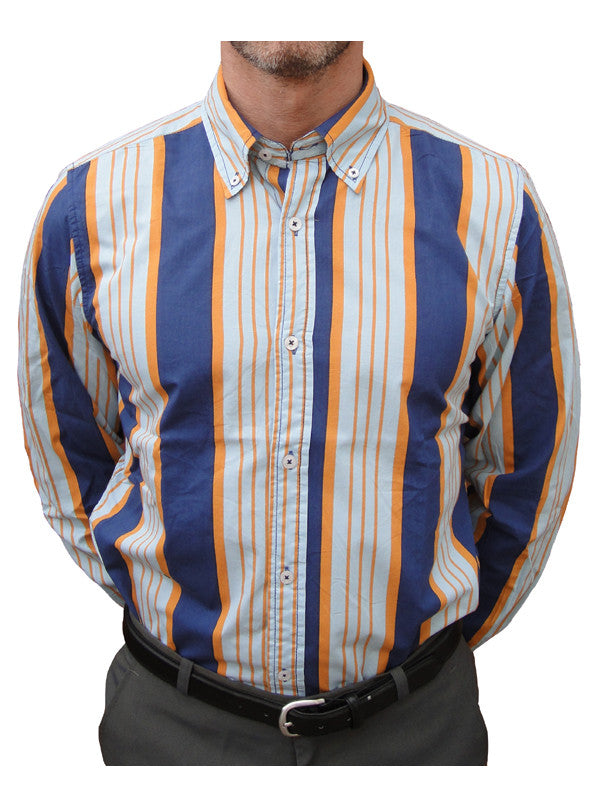 David Watts Bingley Broad Stripe Shirt