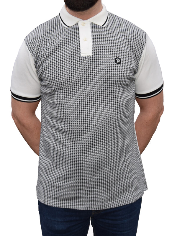 Trojan Records Ecru Houndstooth Front Polo Shirt