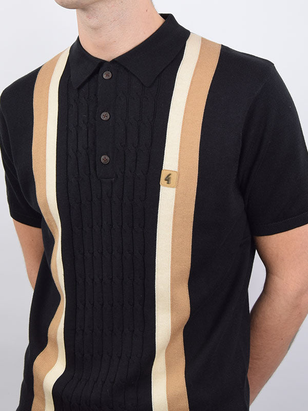 Gabicci Vintage Black Stripe Cable Knit Polo Shirt