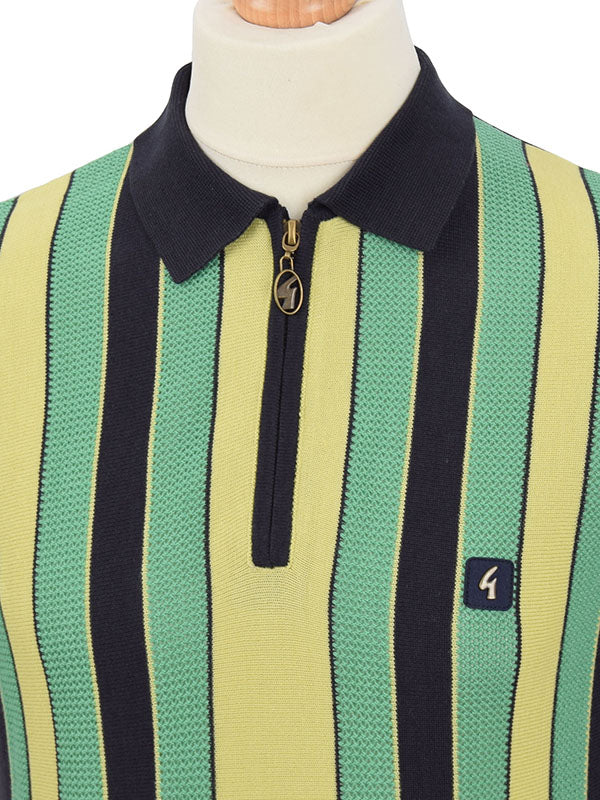 Gabicci Vintage Navy Green & Yellow Stripe Half Zip Polo Shirt