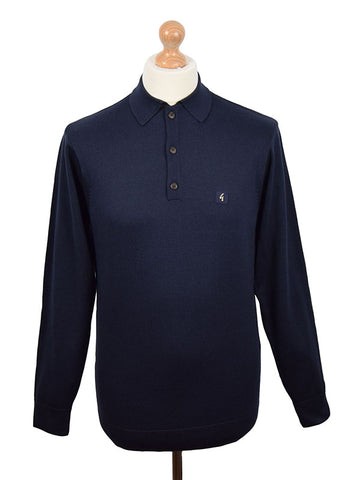 Gabicci Vintage Navy Long Sleeve Polo Shirt