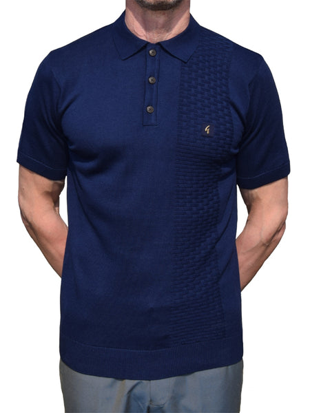 Gabicci Vintage Navy Basket Weave Polo Shirt