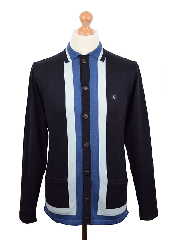 Gabicci Vintage Navy & Blue Button Through Cardigan