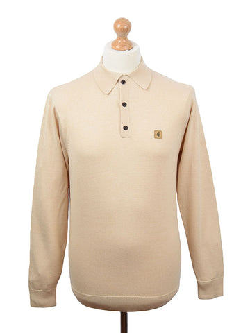 Gabicci Vintage Oat Long Sleeve Polo Shirt