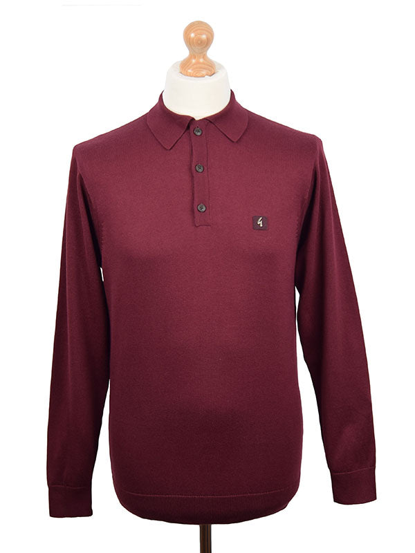 Gabicci Vintage Port Long Sleeve Polo Shirt