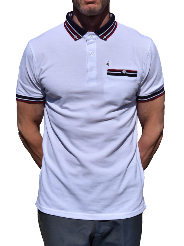 Gabicci Vintage White Striped Pique Polo Shirt
