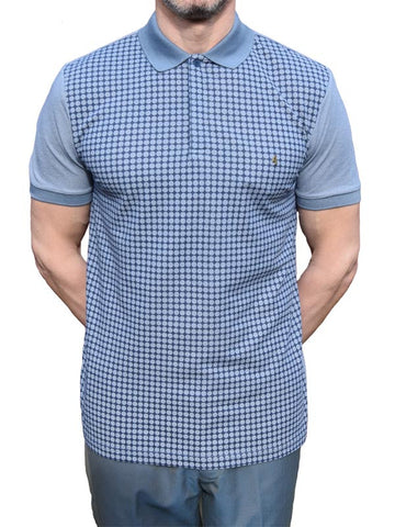 Gabicci Vintage Blue Dots Polo Shirt