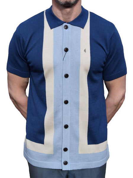 Gabicci Vintage Blue & Sky Blue Button Through Polo Shirt