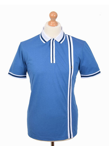 Gabicci Vintage Mid Blue Tipped Polo Shirt