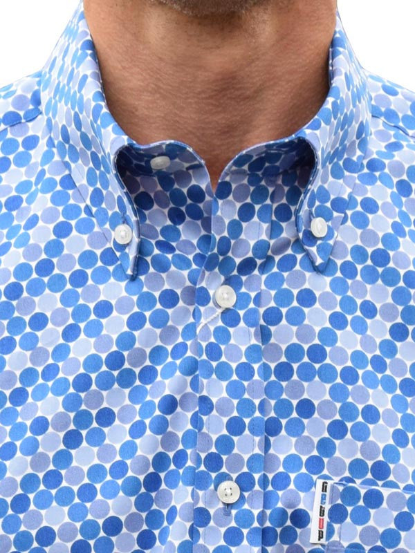 Get Up Blue Honeycomb Dots Shirt