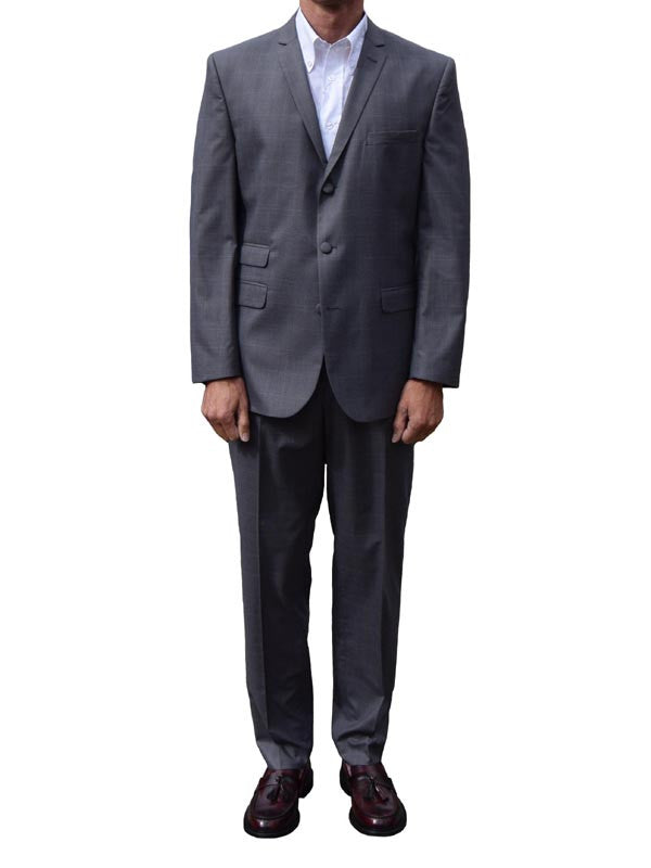 Get Up Charcoal Grey Prince Of Wales Check Single Breasted Suit