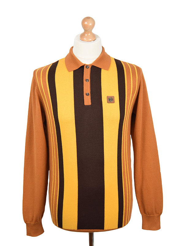 Trojan Records Camel & Golden Tan Front Stripe Polo Shirt