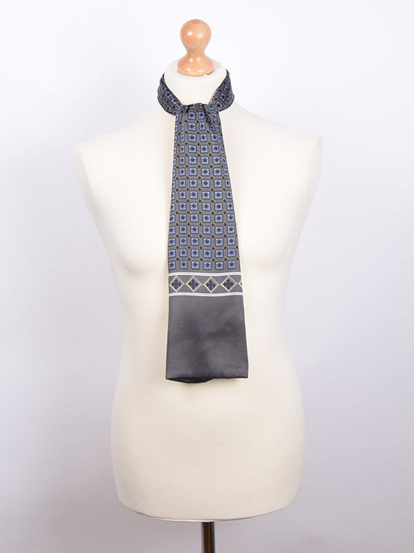 Soho Scarves Grey & Blue Geometric Silk Contrast Scarf