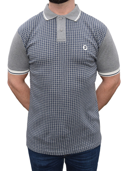 Trojan Records Melange Grey Houndstooth Front Polo Shirt