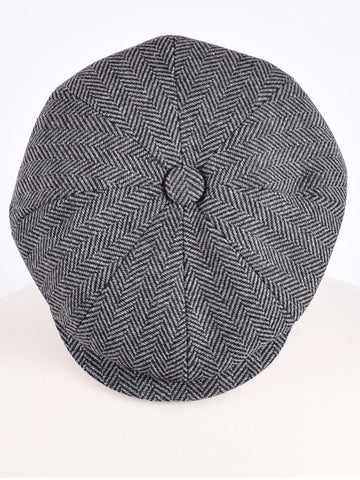 Peaky Blinders Grey Herringbone Wool Newsboy Cap