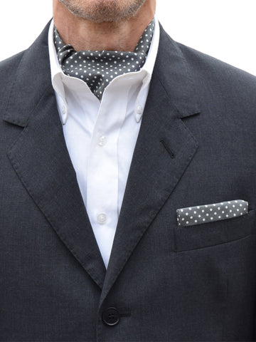 The Dapper Cravat Grey & White Polka Dot Cravat & Handkerchief
