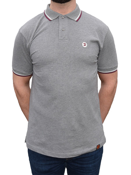 Trojan Records Melange Grey Tipped Polo Shirt