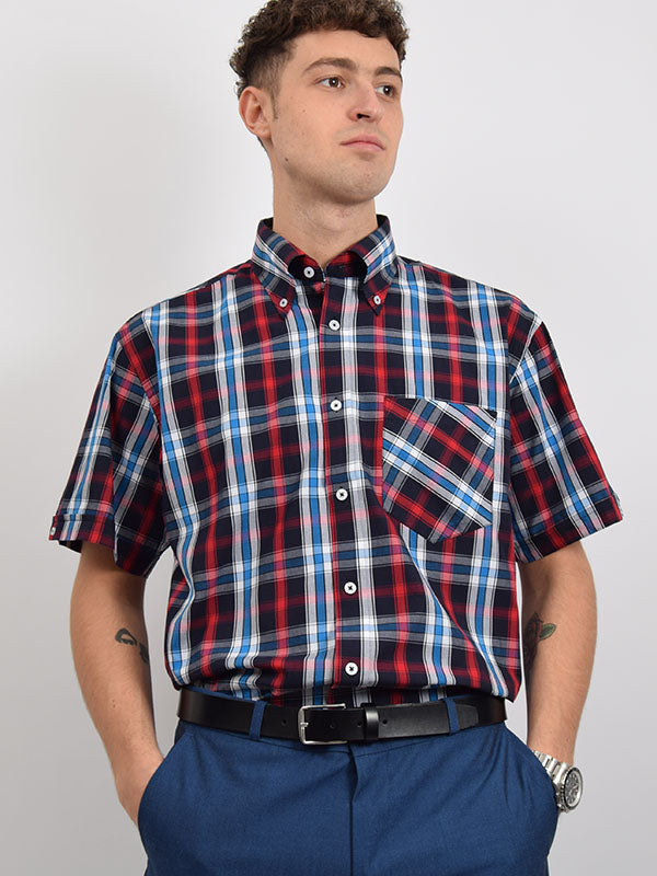 Real Hoxton Red Blue & Black Check Shirt