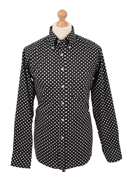 Real Hoxton Black Polka Dot Shirt