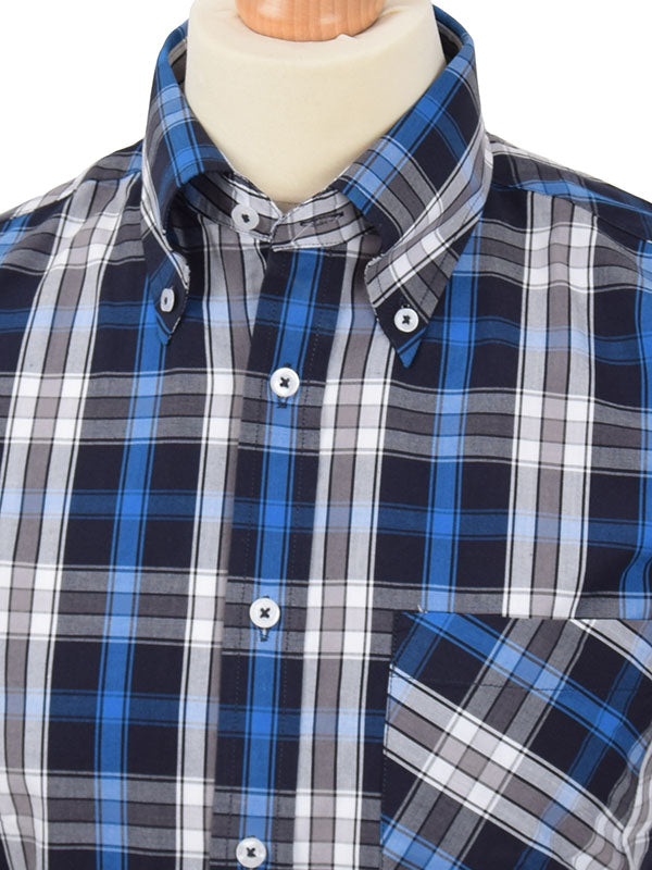 Real Hoxton Blue White & Black Check Shirt
