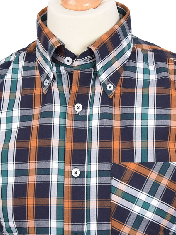 Real Hoxton Green Orange & Black Check Shirt