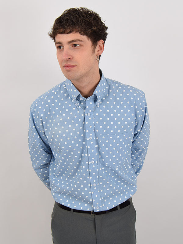 Real Hoxton Sky Blue Polka Dot Shirt