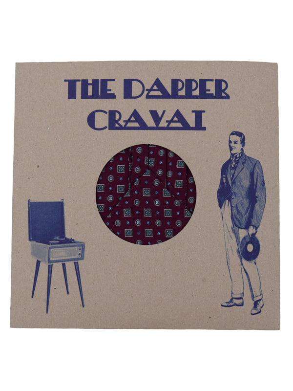 The Dapper Cravat Maroon Squares & Spots Cravat & Handkerchief