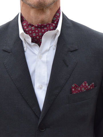 The Dapper Cravat Maroon Square & Spot Cravat & Handkerchief