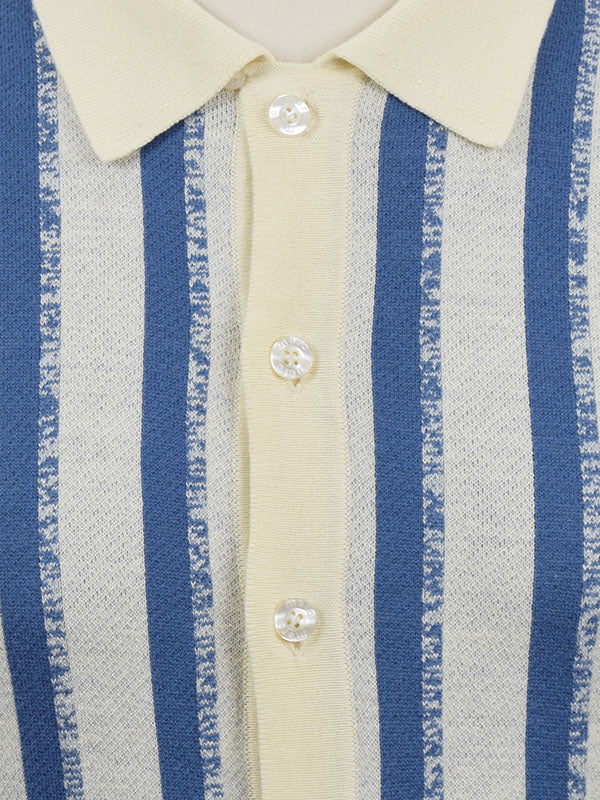Merc Cream Striped Button Through Polo