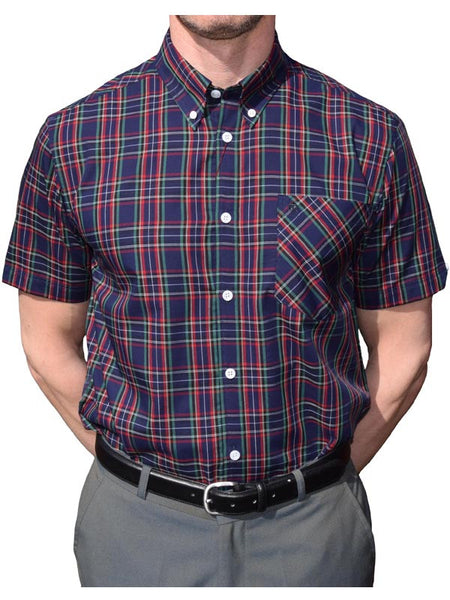 Merc Navy Tartan Short Sleeve Shirt
